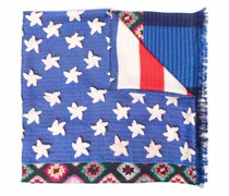 panelled graphic-print silk scarf
