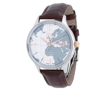 Armbanduhr mit Weltkarten-Applikation