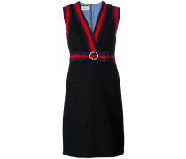 stripe border and bow detail knit dress