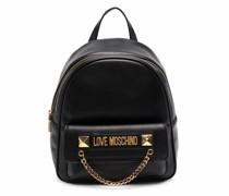 logo-plaque faux leather backpack