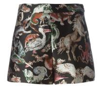Brokat-Shorts mit Tier-Print