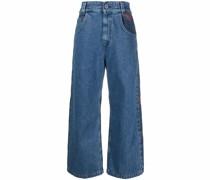 Cropped-Jeans mit Rosenstickerei