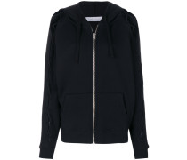 lace-up sleeve zip hooded cardigan