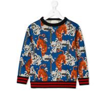 Wollpullover mit Tiger-Motiven