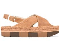 - Flatform-Sandalen mit Schnalle - women
