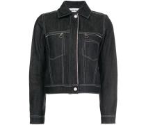 Cropped-Jeansjacke mit Kontraststickerei