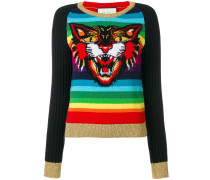 Angry Cat intarsia knitted jumper