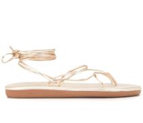 metallic wrap around sandals