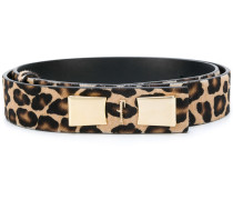 leopard pattern logo buckle belt