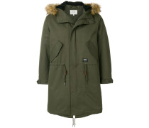 faux fur trimmed parka coat