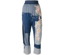 Patchwork-Jeans mit Spitzenbesatz