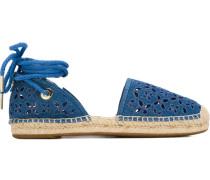 Espadrille-Sandalen mit Lochmuster