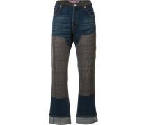 Jeans mit kariertem Besatz