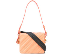 diagonal stitch flap-top bag