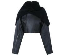 Cropped-Shearling-Jacke mit weitem Kragen
