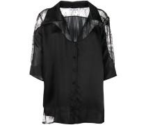 Oversized-Hemd mit Spitzeneinsätzen