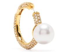 faux-pearl hoop earring