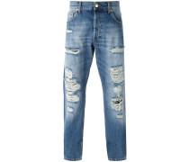 Jeans mit geradem Bein und Distressed-Optik