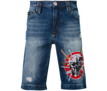 Jeans-Shorts mit Stickerei