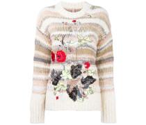 Grobgestrickter Pullover mit Blumenstickerei
