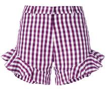 Karierte Shorts mit Rüschensaum