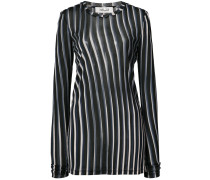 sheer striped fitted pullover