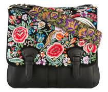 Floral embroidered satchel bag