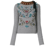 printed cable knit jumper