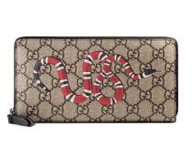 Snake print GG Supreme zip around wallet