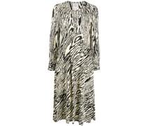 V-neck wood print dress