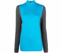 two-tone fine-knit jumper