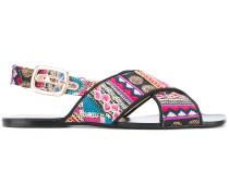 printed cross strap sandals