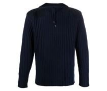 Gerippter Pullover mit Kordelzug