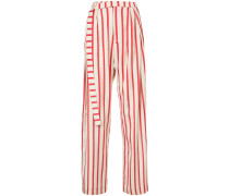 striped multi-tuck pants