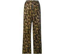 straight-leg patterned trousers