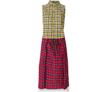 mixed-print midi shirt dress