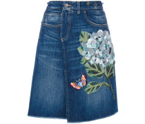 Jeansrock mit Blumen-Motiv