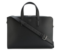 Black leather briefcase with shoulder strap
