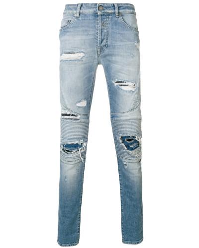 Biker-Jeans in Distressed-Optik