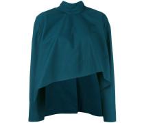 Asymmetrische Cropped-Bluse mit Mandarinkragen