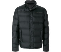 faux leather detail puffer jacket
