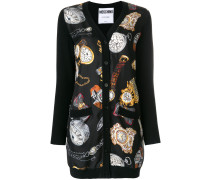 clock and watch print longline cardigan