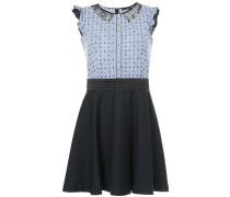 mixed-print flared mini dress