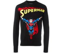 Intarsien-Pullover mit Superman-Print