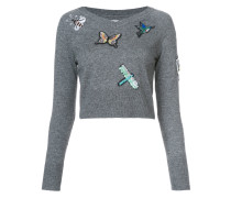 Cropped-Pullover mit Patches