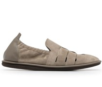 leather trim caged loafers