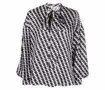 geometric-print silk shirt