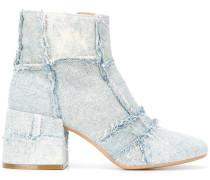 Jeansstiefeletten mit Patchwork-Design
