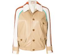 striped shoulder leather jacket