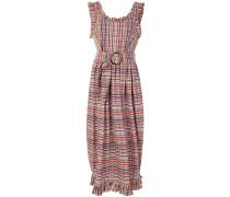 ruffle trim checked dress